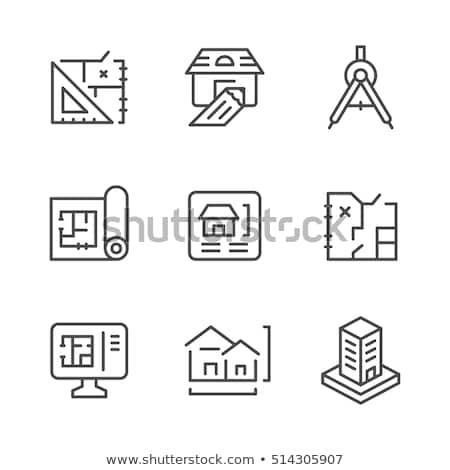 Stock photo: construction set drawings rolls
