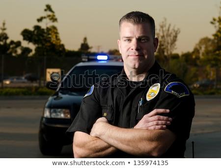 Politie auto hoektand wachten Maakt een reservekopie Stockfoto © 805promo