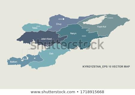 Asia kaart Kirgizië land kaarten knop Stockfoto © Ustofre9