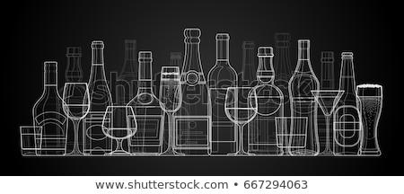 ボトル ワイングラス バー 葉 背景 ストックフォト © zzve