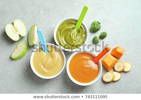 Alimentos para bebês bebê café da manhã sobremesa colher fresco Foto stock © M-studio
