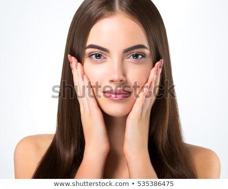 Közelkép női arc portré kezek fej ház Stock fotó © chesterf