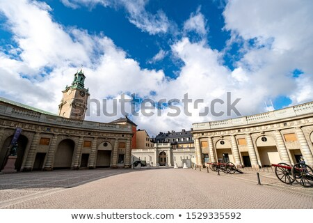 royal guards at the palace in old stockholm gamla stan sweden stock photo © ram
