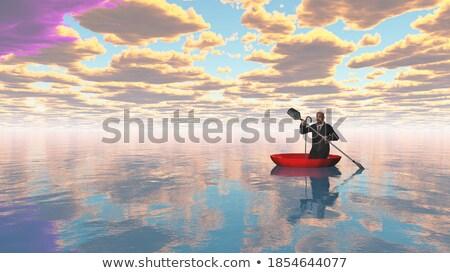 3d man on board with sail floating on the sea Stock photo © cherezoff