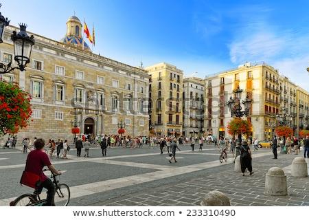 tér · Spanyolország · Barcelona · múzeum · szökőkút · nap - stock fotó © joyr