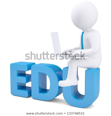 3d character sitting on .EDU domain sign. Stock photo © Kirill_M