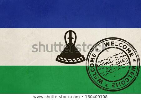 Bienvenida Lesoto bandera pasaporte sello viaje Foto stock © speedfighter