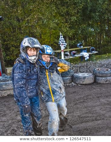 Fiú verseny sáros útvonal sport jókedv Stock fotó © meinzahn