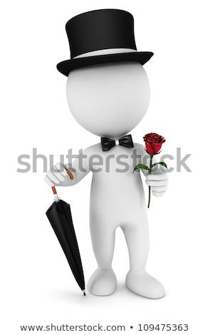 3D · weiße · Menschen · Gentleman · Dach · Fliege · hat - stock foto © anatolym