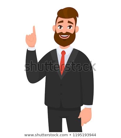 Gelukkig zakenman wijzend iets glimlachend man Stockfoto © stockyimages