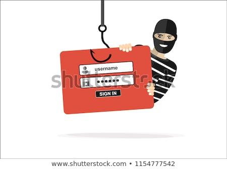 Phishing Kennwort gedruckt Stück Papier Fischerei Stock foto © ivelin
