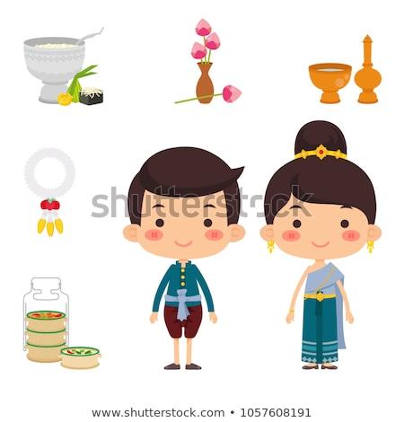ázsiai szett rajz stílus vallásos terv Stock fotó © anbuch