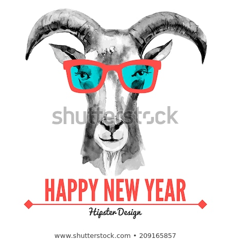 Rajz új év kos klasszikus stílus boldog Stock fotó © kali