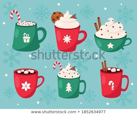 Karácsony gyűjtemény sziluettek fa tél cukorka Stock fotó © oksanika