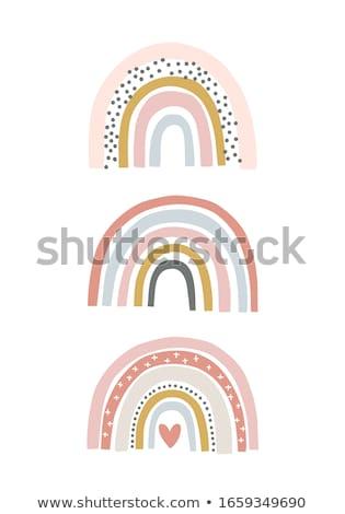 Arco-íris silhuetas pessoas saltando céu nuvens Foto stock © Lom