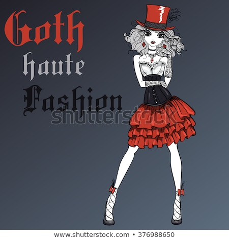Stockfoto: Mooie · gothic · meisje · zilver · korset · zwarte