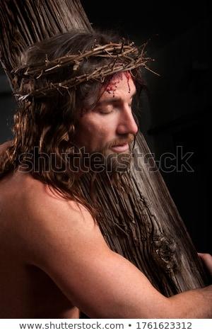 Jézus Krisztus korona közelkép húsvét fehér Stock fotó © nito