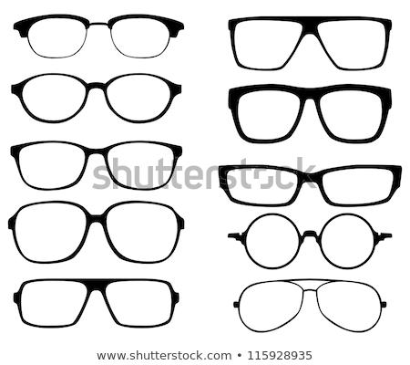 Bril zwarte rand witte ogen medische Stockfoto © fotorobs