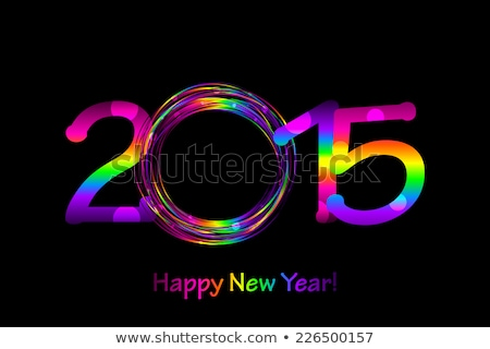 new year card with balls and digits 2015 Stock photo © yurkina