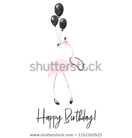 Stock photo: Greeting card with balloons for happy birthday, trendy flat styl