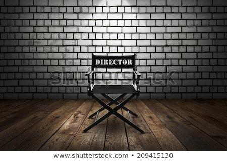 Ingesteld houten stoel directeur witte hout film Stockfoto © tashatuvango