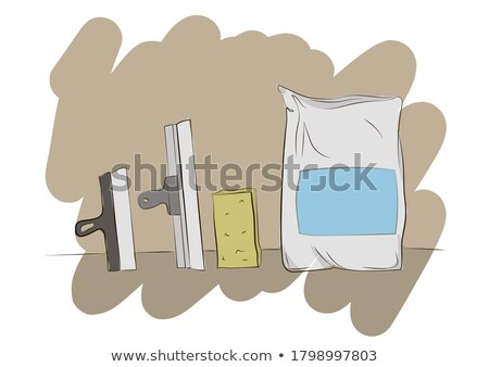 Process putty concrete wall with a metal spatula Stock photo © Valeriy