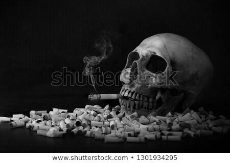 Kafatası puro durdurmak sigara içme metin dumanlı Stok fotoğraf © ankarb
