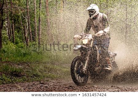 汚い · オートバイ · モトクロス · ヘルメット · 道路 · 冒険 - ストックフォト © Kor