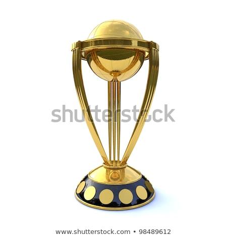 крикет · трофей · металл · флаг · успех - Сток-фото © vectomart