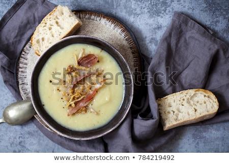 Kremsi çorba sağlıklı pırasa havuç sarımsak Stok fotoğraf © zhekos