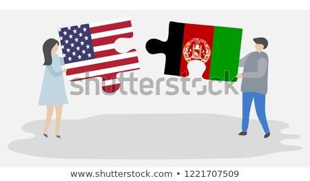 Foto stock: EUA · Afganistán · banderas · rompecabezas · vector · imagen