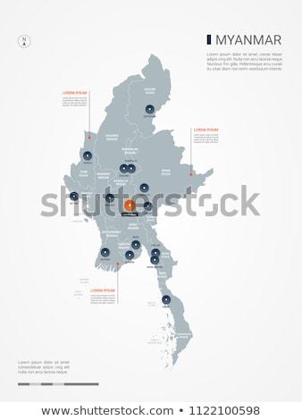 Laranja botão imagem mapas Mianmar forma Foto stock © mayboro