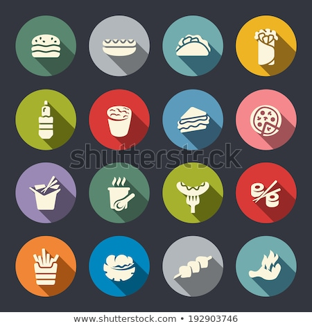 Stock photo: Flat Food Sushi Set Circle Icons
