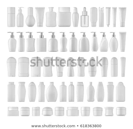 Stockfoto: Shampoo · fles · geïsoleerd · witte · haren · Blauw