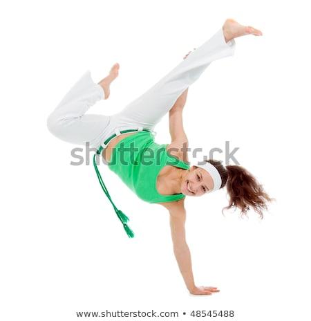ストックフォト: 少女 · カポエイラ · ダンサー · ポーズ · 白 · 訓練