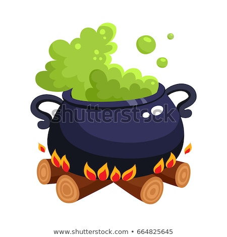 Green magic potion in cauldron. Boiling pot. Halloween accessory object Stock photo © orensila