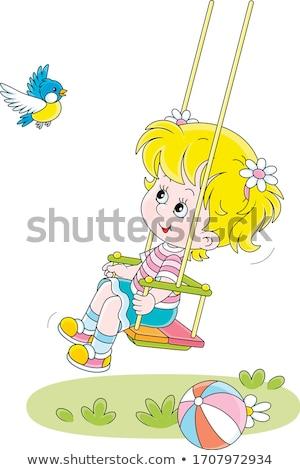 Dziewczyna ptaszyna dziewczynka strony lesie kwiaty Zdjęcia stock © nizhava1956