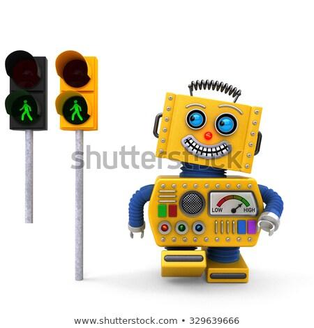 Heureux jouet robot marche feu jaune Photo stock © creisinger