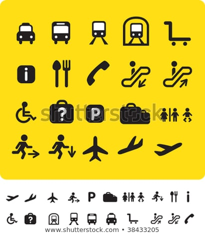 Airplane Sign Yellow Vector Icon Button Stock photo © rizwanali3d