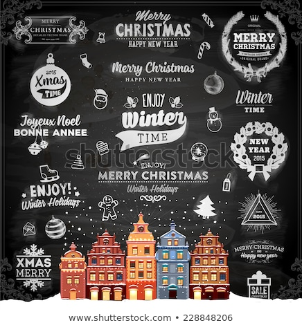 Christmas Retro Icons, Elements And Illustrations Set happy new year 2016 Stock photo © rommeo79