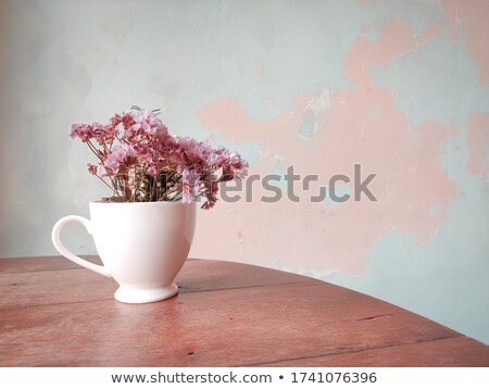 White mug cup and static flower Stock photo © nalinratphi