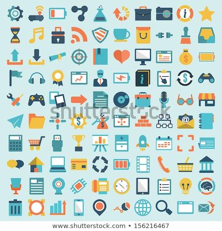 Stock fotó: Mobil · eszközök · szolgáltatások · ikon · szett · gomb · terv