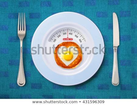 カロリー · 食品 · 表示 · 白 · プレート · 健康 - ストックフォト © ssuaphoto