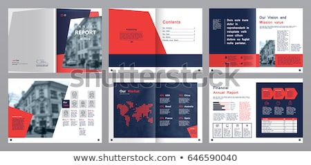 Red Annual report template business brochure flyer template in A Stock photo © ganpanjanee