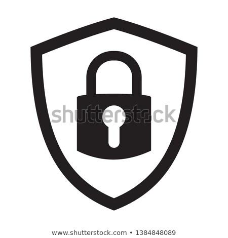 cadeado · escudo · segurança · trancar · ícone · computador - foto stock © fenton