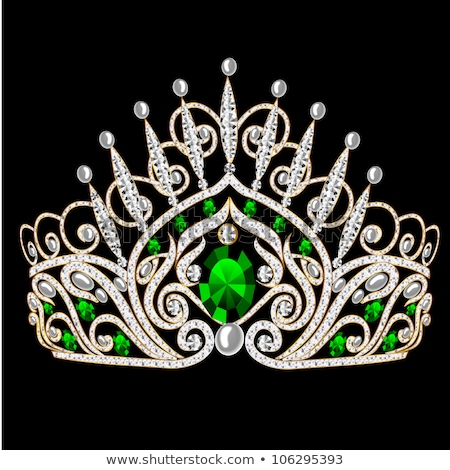 Diamond tiara with emerald - vector illustration Stock photo © Karamio