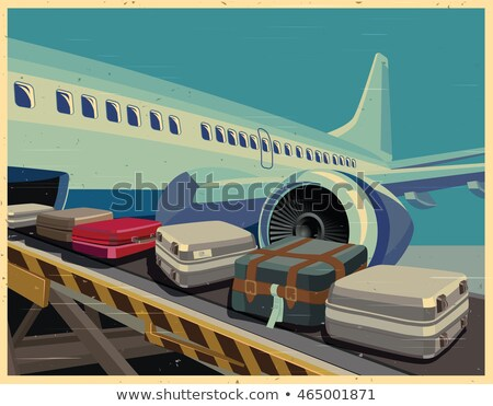 Passenger plane is landing old poster Stock photo © tracer