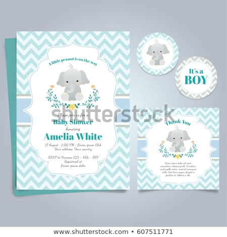 baby shower card with animals stock photo © balasoiu