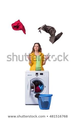 устал · депрессия · домохозяйка · прачечной · женщину · счастливым - Сток-фото © elnur