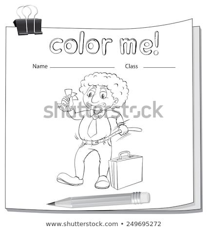 A color me worksheet with a man Stock photo © bluering